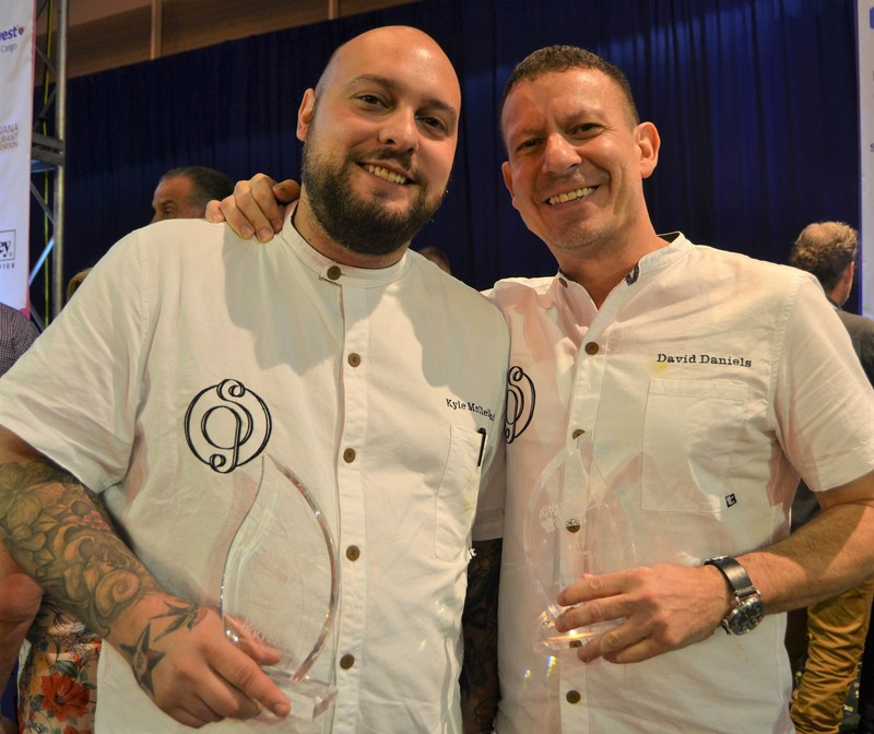 Chef Kyle McClelland and Chef David Daniels of Saltie Girl in Boston, MA posing with their award at The 2017 Great American Seafood Cook-Off  in New Orleans, LA
