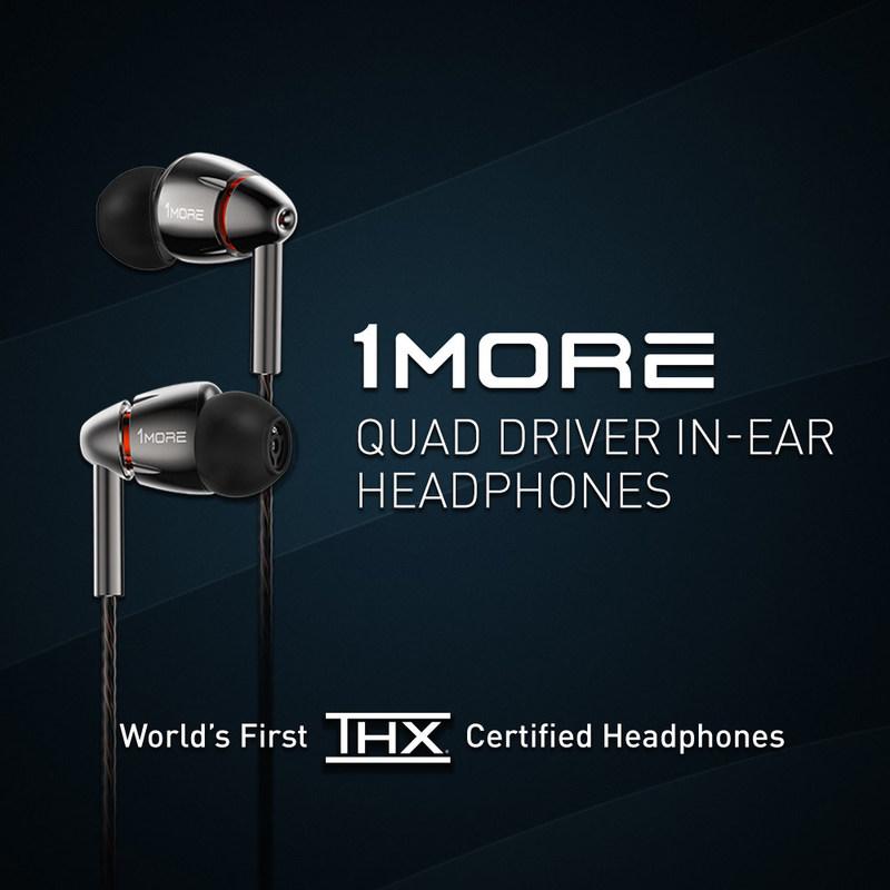 Fones de ouvido intra-auriculares Quad Driver da 1MORE, primeiros fones de ouvido do mundo com certificação da THX