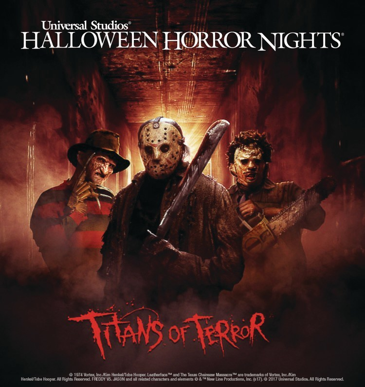"""Freddy Krueger, Jason Voorhees and Leatherface are the """"Titans of Terror,"""" Universal Studios Hollywood's Terrifying New Slasher Film Maze Debuting at this Year's """"Halloween Horror Nights,"""" Beginning Friday, September 15"""