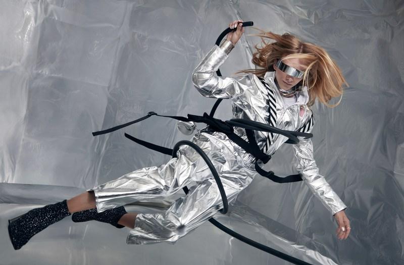Stav Strashko poses in spacesuit in ZERO-GRAVITY. Source: Reiko Wakai for Wix.com's Capture Your Dream Photo campaign