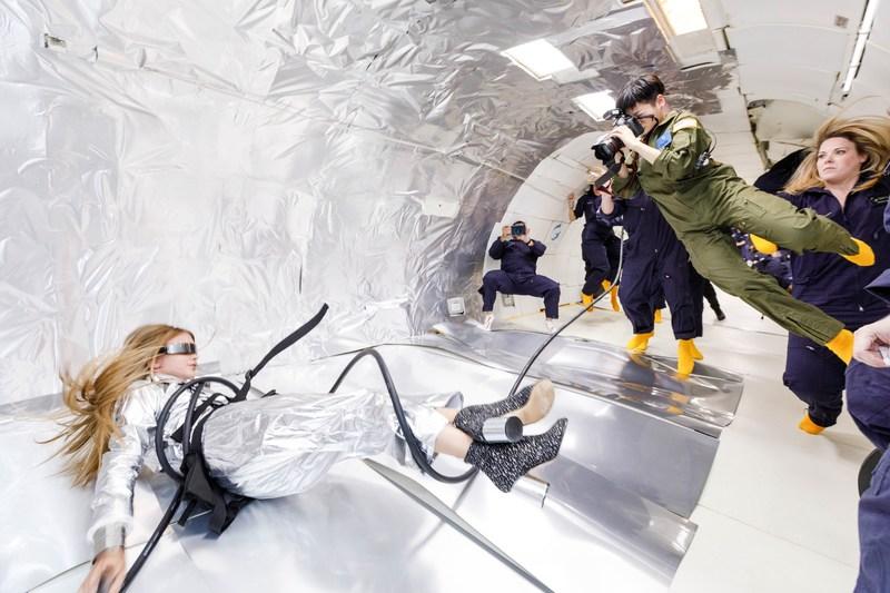 Wix's Capture Your Dream Photo winner, Reiko Wakai photographs model Stav Strashko during a zero gravity photo shoot. Source: Steve Boxell – ZERO-G