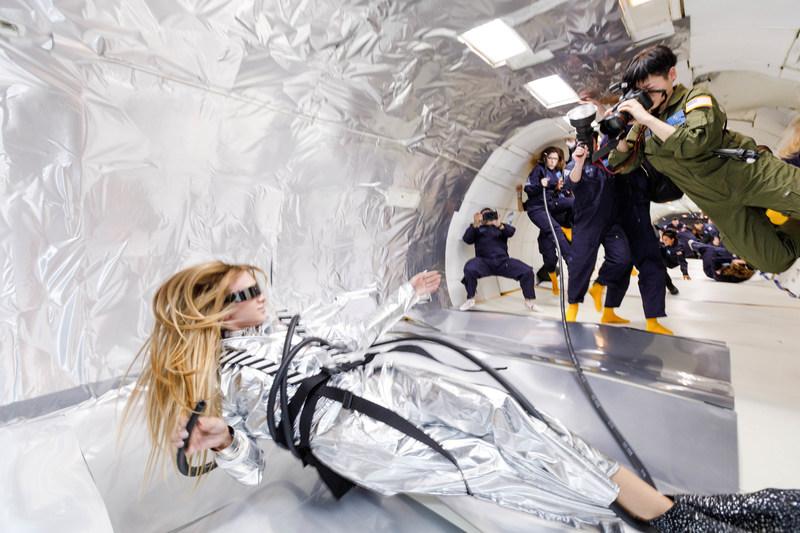 Wix's Capture Your Dream Photo winner, Reiko Wakai photographs model Stav Strashko while experiencing zero gravity during her dream photo shoot. Source: Steve Boxell – ZERO-G