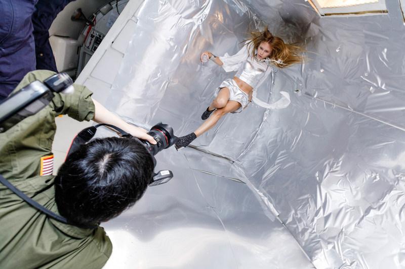 Photographer Reiko Wakai captures model Stav Strashko floating mid air during a zero gravity photo shoot for Wix's Capture Your Dream Photo campaign. Source: Steve Boxell – ZERO-G