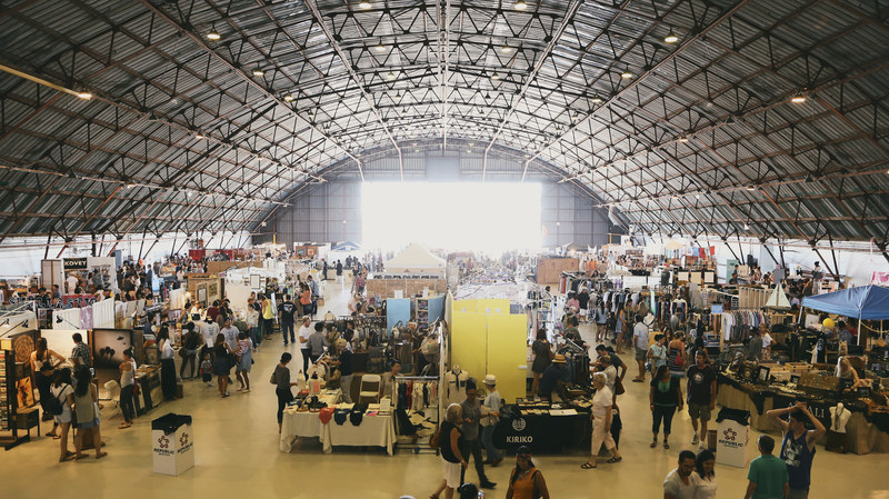 The Unique LA Summer Market takes place in the iconic Barker Hangar at the Santa Monica airport.