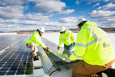 Pfister Energy installing a solar ready roof for Pep Boys
