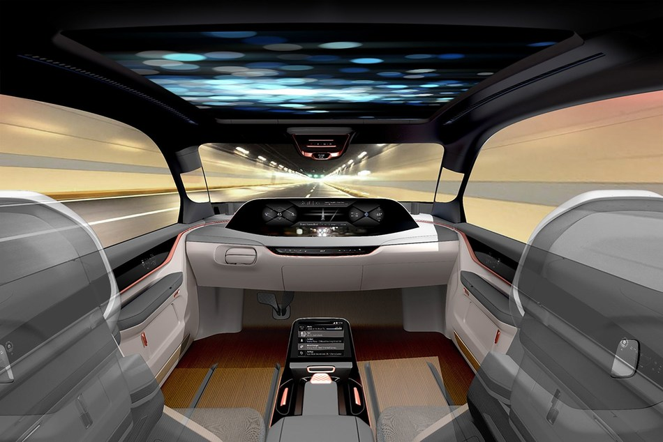 """The new concept """"eXperience in Motion""""(XiM18) from Yanfeng Automotive Interiors shows in various driving modes how interior functionality inside the vehicle will fundamentally change.??© Yanfeng Automotive Interiors, 2017. Image available for editorial use, quoting the source: Yanfeng Automotive Interiors. (PRNewsfoto/Yanfeng Automotive Interiors)"""