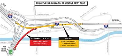 Projet Turcot et travaux de maintien de l'échangeur Saint-Pierre - Entraves durant la fin de semaine du 11 août 2017 (Groupe CNW/Ministère des Transports, de la Mobilité durable et de l'Électrification des transports)