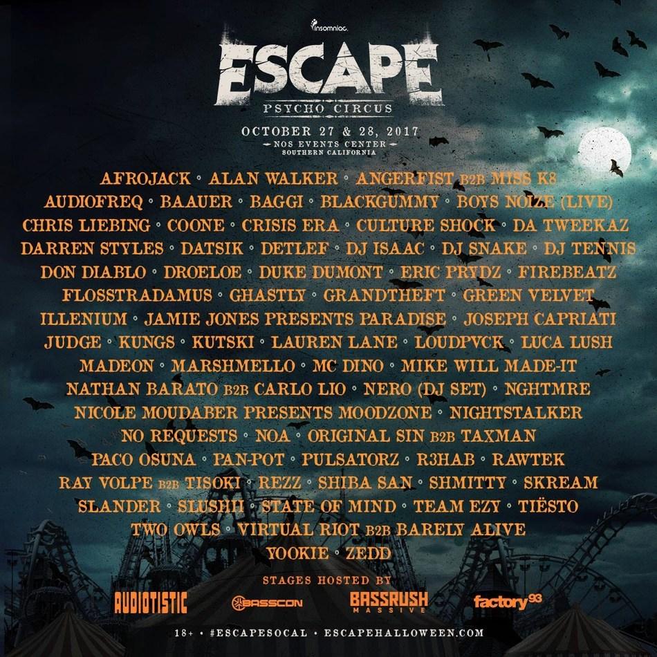 Escape: Psycho Circus Lineup