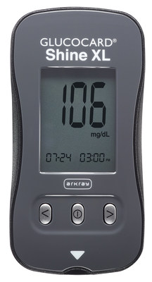 The new GLUCOCARD Shine XL blood glucose monitoring system from ARKRAY USA.