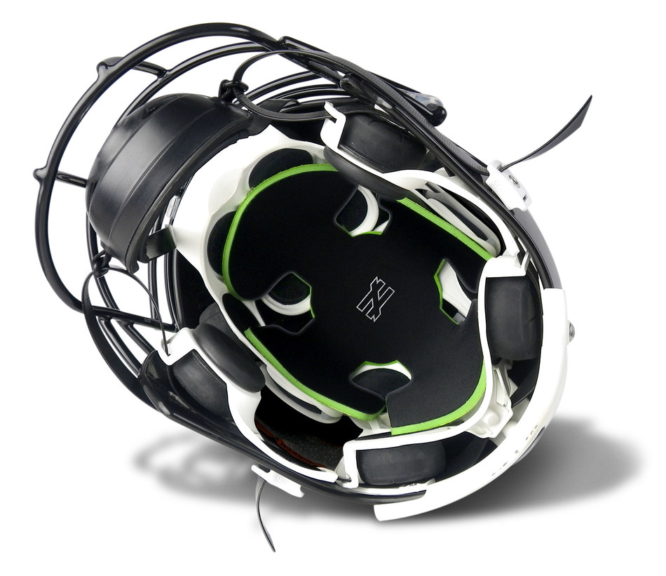 The UNEQUAL GYRO™ is a patented concealed, supplemental head padding that easily fits inside a full coverage hard shell football helmet - just 'Place & Play.'  Made of advanced, military-grade composite, the UNEQUAL GYRO reduces concussion risk by absorbing and dispersing impact force.