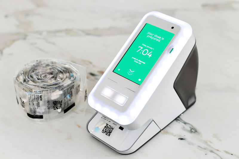 Feel safe that your loved ones are taking their medicines correctly: Karie is an innovative technology appliance that simplifies and monitors the administration of multiple medications, improving compliance and reducing adverse drug complications. Its easy-to-load cartridge uses a multi-dose medicine package, like that produced by Centric Health. (CNW Group/Centric Health Corporation)