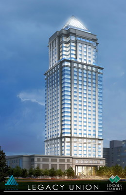The first phase of the Legacy Union project in Charlotte, N.C., is under construction now and includes this 33-story office tower of stone and glass to evoke tradition and modernity. The 640-foot-high tower will be topped by a 100-foot glass and steel pyramid. Bank of America is the anchor tenant and will occupy approximately 550,000 square feet, leaving an estimated 300,000 square feet available for lease. In addition to the tower, Legacy Union will feature a mix of uses and ample open space.