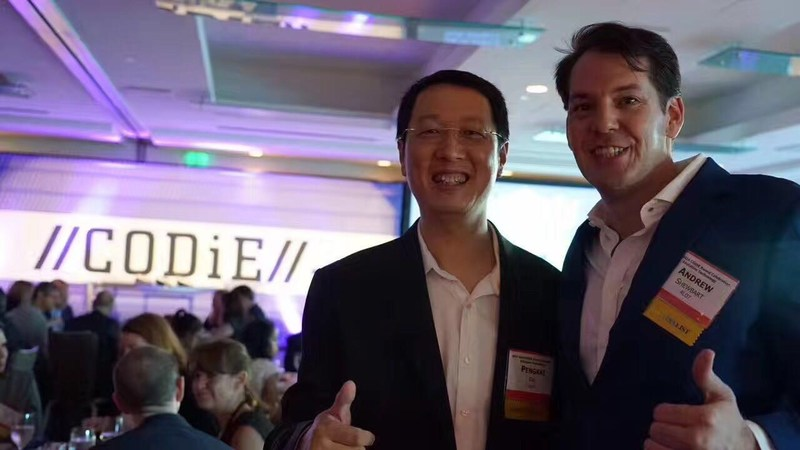 ALO7 executives Dr. Pengkai Pan and Andrew Shewbart at the CODiE awards in San Francisco