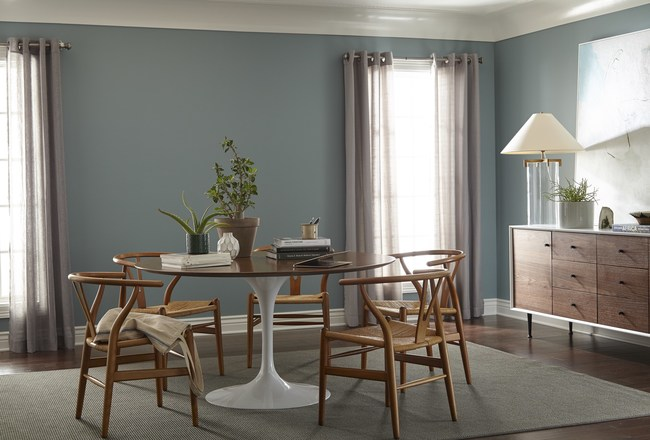 Behr Paint announces the 2018 Color of the Year: In The Moment T18-15, a restorative blue-green hue that honors nature to create a soothing, tranquil atmosphere.