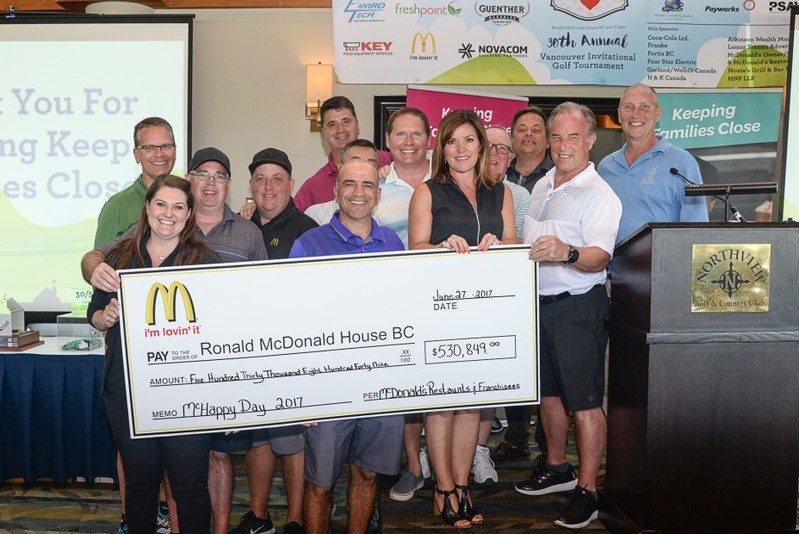 McHappy Day Raises $530,849 for Ronald McDonald House Charities from Local British Columbia and Yukon Franchisees (CNW Group/McDonald's Canada)