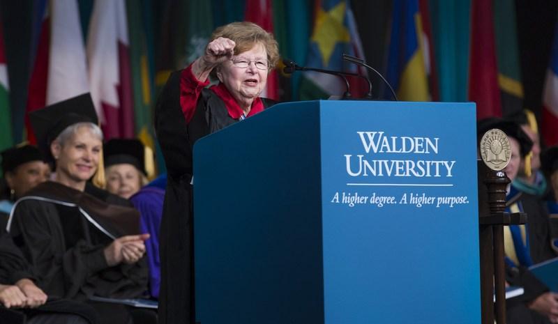 Former Senator Barbara Mikulski spoke at Walden University's 58th Commencement Ceremony