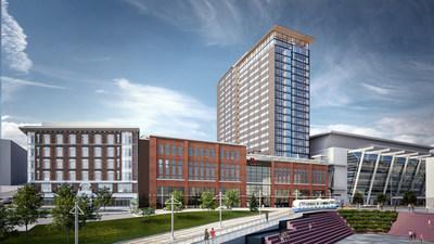 Rendering of the Marriott Seattle Tacoma, Ankron-Moisan Architects.