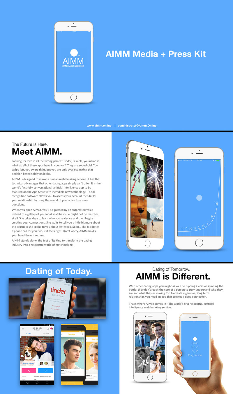 Introducing AIMM: Matchmaking Service. The world's first fully conversational, respectful artificial matchmaking service. AIMM uses machine learning to provide you with a 'human' matchmaking service in the palm of your hand! The future of matchmaking has a name, AIMM.