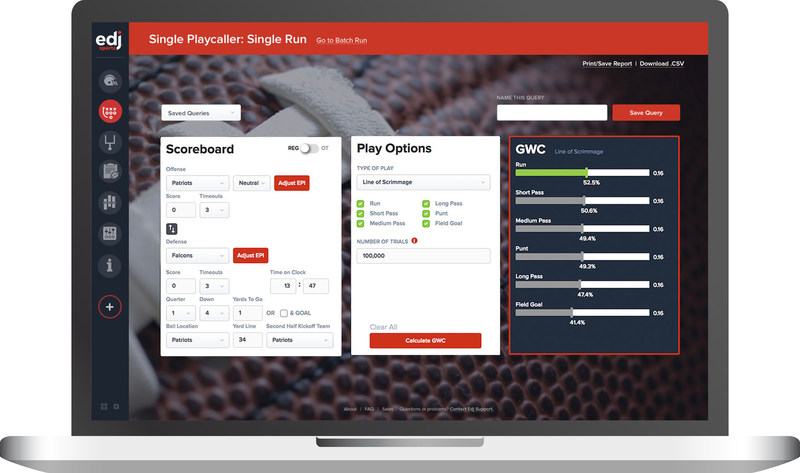 EdjFootball Playcall Simulator (Single Run): Reveals the optimal play choice and relative merits of alternatives for any unique game situation within seconds