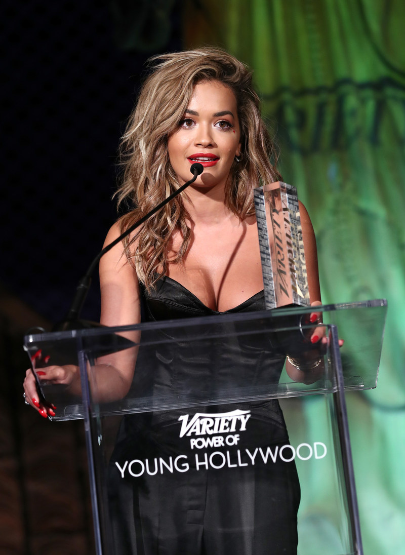 Rita Ora accepting the Variety and H&M Conscious Award at the Power of Young Hollywood event