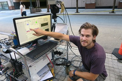 George MacCartney, Jr., an electrical engineering doctoral student at NYU Tandon and a researcher at NYU WIRELESS, conducts millimeter wave testing on the school's Downtown Brooklyn, New York, site. Researchers at NYU WIRELESS were the first to demonstrate that the spectrum held promise for communications in dense urban environments.