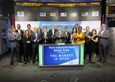 Kevan Gorrie President & CEO Pure Industrial Real Estate Trust, joined Ungad Chadda President Capital Formation Equity Capital Markets TMX Group to open the market to celebrate 10 years listed on TSX Venture Exchange and Toronto Stock Exch