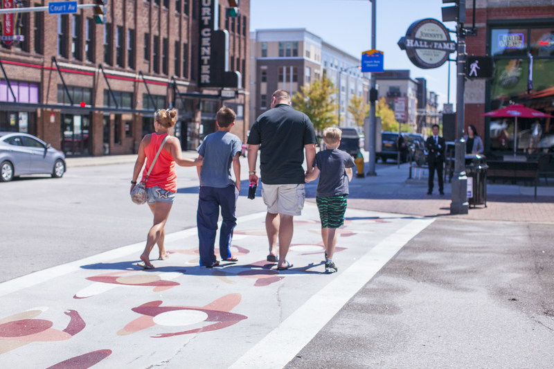 The completion of the Art Route DSM trail in Downtown Des Moines will make it the first known trail of its kind in the nation and possibly the world: a trail connecting public art that includes a painted connector path and painted crosswalks.