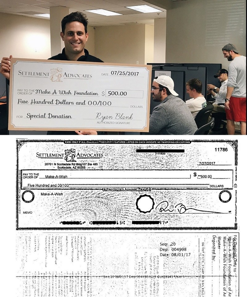 Settlement Advocates is donating $500 to the Make-A-Wish Foundation. - Ryan Blank