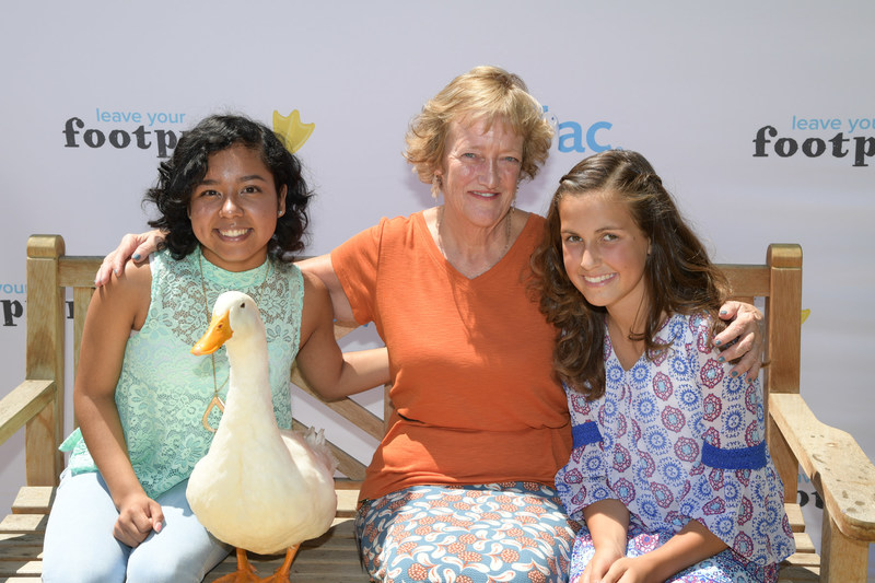 2017 Duckprints Award honorees, Jasmin Castro, Anita Williamson and Faith DeBrum, with the Aflac Duck at Cottage Children's Medical Center in Santa Barbara on Thursday, Aug. 10.