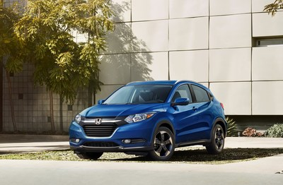 Sporting a vibrant new blue color and sporty new alloy wheel treatment, the 2018 edition of the best-selling Honda HR-V begins arriving in dealerships this Monday, August 14. (PRNewsfoto/American Honda Motor Co., Inc.)