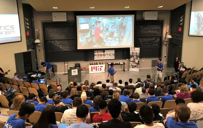 Students watching a live stream of the Zero Robotics Competition on the International Space Station at the Massachusetts Institute of Technology in Cambridge, MA.