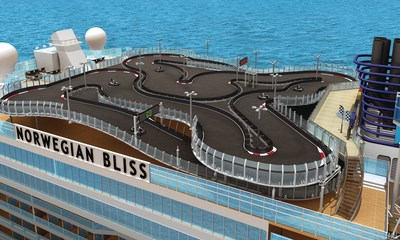 Guests will be able to put the pedal to the metal for the first time aboard a North American-based cruise ship with a two level electric-car race track, the longest at sea at nearly 1,000 feet, reaching up to 30 miles per hour . The electric cars run silent but guests will have the full racing experience while they channel their inner Andretti, as the sounds of a race car engine are piped in through speakers located in the car's headrest.