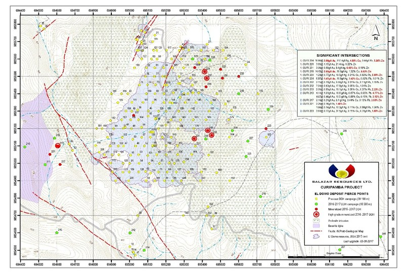 Figure 1, El Domo Deposit – Pierce Point Map (CNW Group/Salazar Resources Limited)