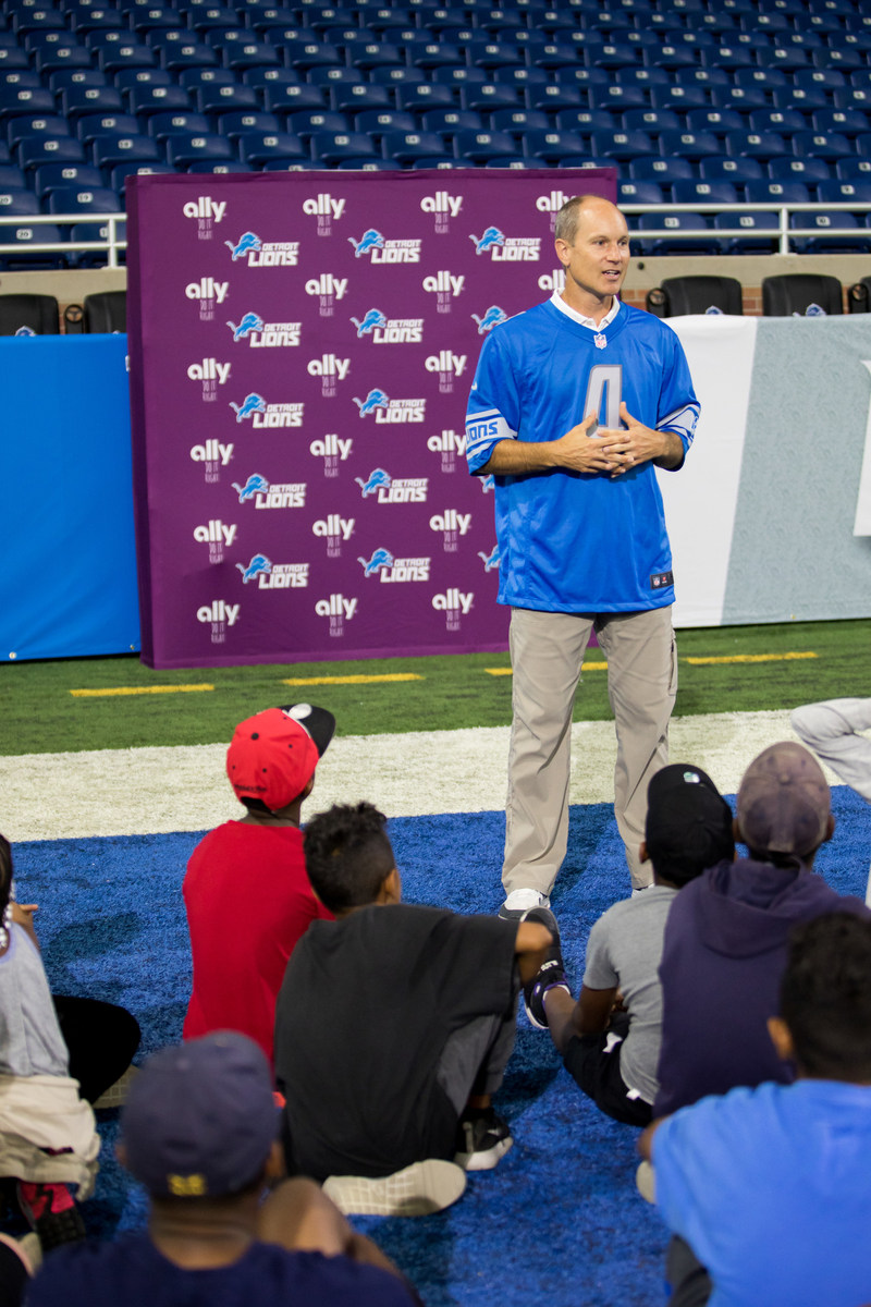 Longtime Detroit Lions Kicker Jason Hanson talked to children from Big Brothers Big Sisters of Metropolitan Detroit and Detroit PAL about the importance of education before taking to the field to practice kicking.