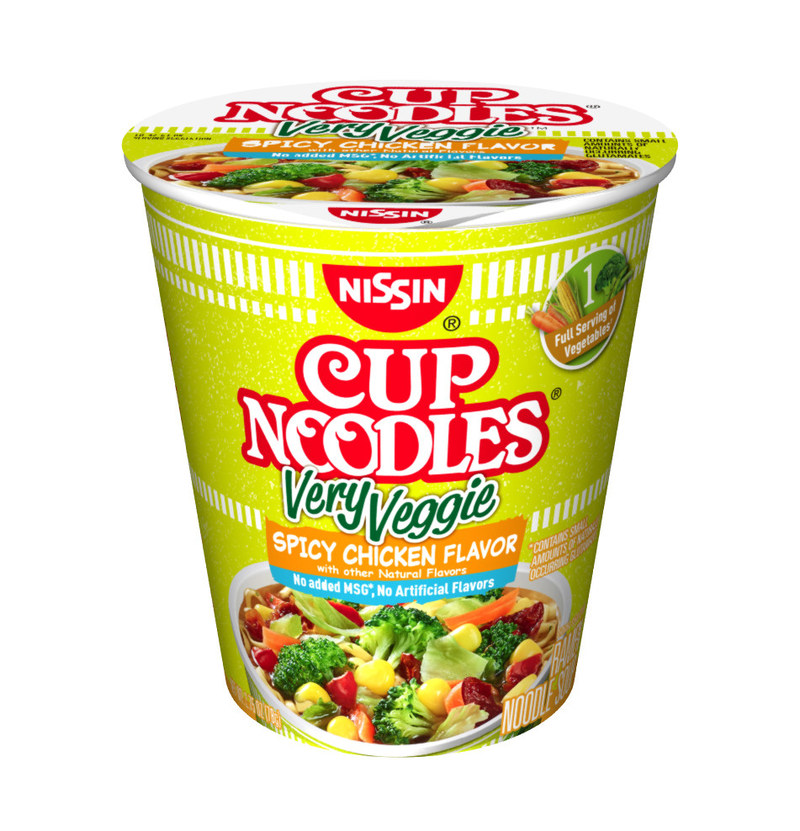 The new Cup Noodles Very Veggie is available in three flavors - Chicken, Spicy Chicken and Beef.