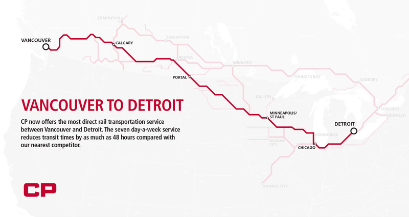 VANCOUVER TO DETROIT. CP now offers the most direct rail transportation service between Vancouver and Detroit. The seven day-a-week service reduces transit times by as much as 48 hours compared with our nearest competitor. (CNW Group/Canadian Pacific)