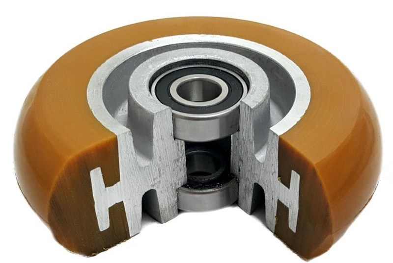 Caster Works Inc. CW Ultra Wheels Polyurethane wheels are injection-molded, mechanically locked and chemically bonded to a aluminum core. They are non-marking, non-conductive, and superior to other polyurethane in withstanding grease, oil, cutting, chunking, and abrasive wear. They reduce noise and polyurethane absorbs energy which offers an energized wheel, allowing the wheel to start rolling easier due to stored energy. Excellent for use on industrial continuous use tow lines.