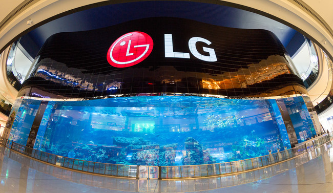 LG Electronics Business Solutions unveiled the world's largest OLED screen and world's largest high definition video wall. Located at the Dubai Aquarium in the Dubai Mall adjacent to the Burj Khalifa, the mega-sized video wall was created using 820 Open Frame LG OLED digital signage panels.
