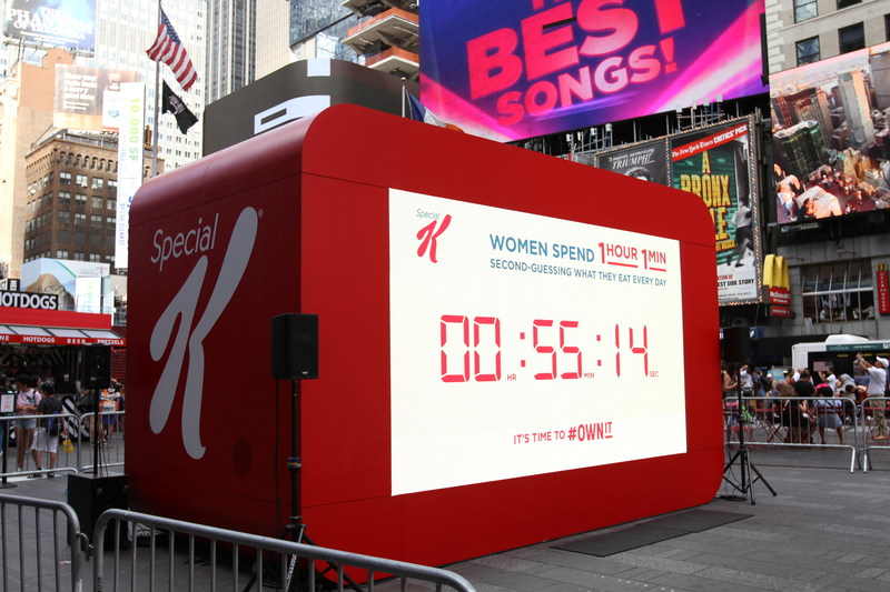 Kellogg's Special K sheds light on new survey revealing that women spend 61 minutes every day second-guessing their food choices in New York's Times Square