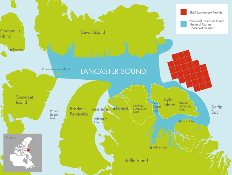 Map of offshore rights Shell has contributed to the Nature Conservancy of Canada and the proposed Lancaster Sound National Marine Conservation Area. (c) Shell (CNW Group/Shell Canada Limited)