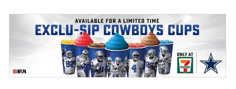To kick off the 2017 Dallas Cowboys season, 7-Eleven® stores will  release a series of seven collectible cups. The first six cups will feature some of the team's most popular players on co-branded Big Gulp®/Slurpee® cups. Suggested retail price of the limited-edition cup is $1.99 and may be filled with either a fountain or frozen Slurpee drink. Collectible cups are only available for a limited time.