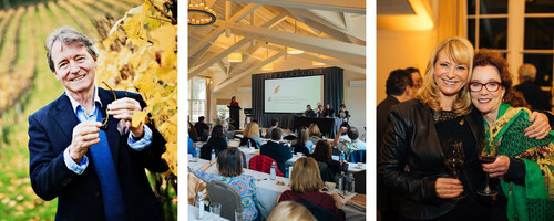 L-R: 2018 Symposium Keynote Speaker, author & wine consultant Steven Spurrier; Symposium panel & discussion at Meadowood Napa Valley; and Symposium Emcee Leslie Sbrocco and author Karen MacNeil.