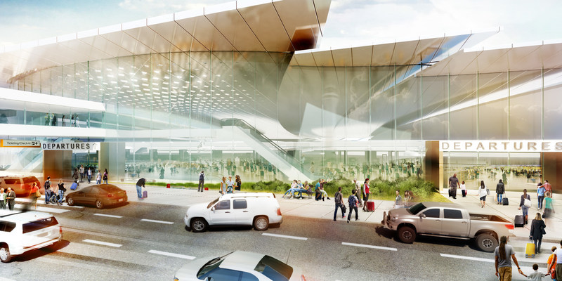 As you approach the terminal, you begin to sense the architecture of the terminal.  The highest levels of roof articulate the main entry for clear definition of the central security access area.
