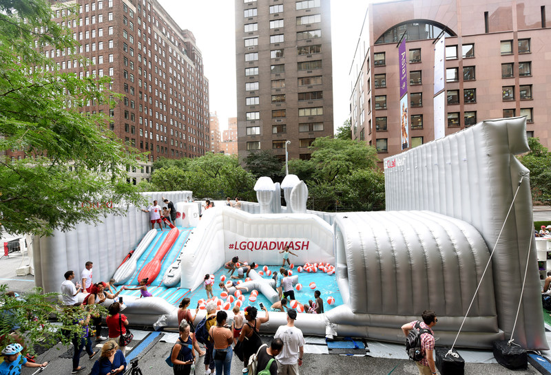 LG QuadWash Water Park, modeled after the new LG QuadWash dishwasher, tops-out at 6,750 square feet. The LG QuadWash Water Park has attracted nearly 200,000 festivalgoers during the first two Saturdays of August in New York City.
