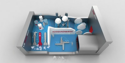 LG created a LG QuadWash Water Park in New York City. The Water Park is modeled after the LG QuadWash that has four spraying arms instead of the traditional two spraying arms. Celebrities will race through the Water Park on August 19.