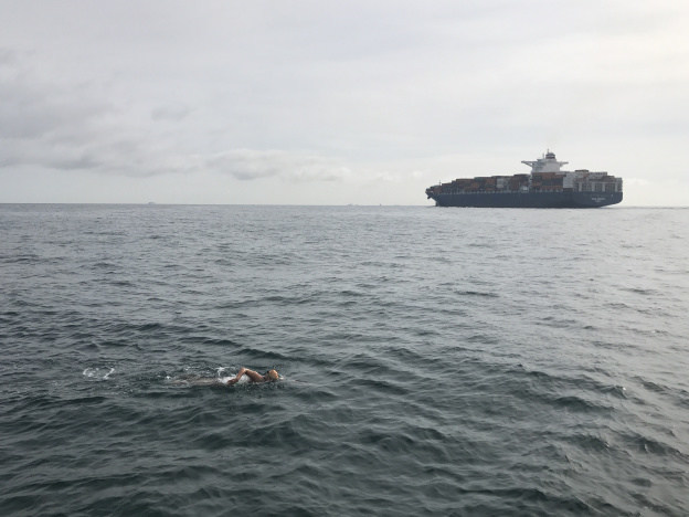 The English Channel is a heavily traveled shipping lane in both north and south directions for container ships. In addition to natural hazards of cold temps and sea jelly stings, the swimmer also must cope with enormous waves generated by these large ships, and the need to sometimes deviate in direction for safety.