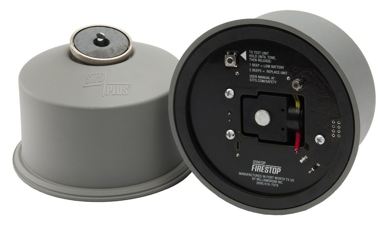 On the underside of each canister, the new STFS Plus Sensor has an array of embedded sensors that watch over your stove, 24 hours a day, looking for the distinct signature of a cooking fire.  If they determine that there is a true threat, the canister deploys its fire stopping powder instantly.