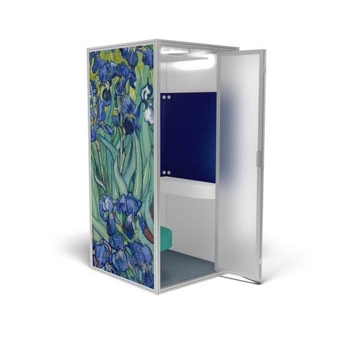 """Cubicall van Gogh Irises features Vincent van Gogh's famous painting, Irises, printed on the outside wall, with matching blue acoustic panels, soft marine teal vinyl leather, and blue steel carpet.  Irises digital image courtesy of the Getty's Open Content Program. The Cubicall One comfortably fits two persons inside. With a footprint less than 42"""" x 42"""" and standing under 8 feet high, the bi-folding door helps Cubicall fit in smaller offices where every inch of space is critical."""