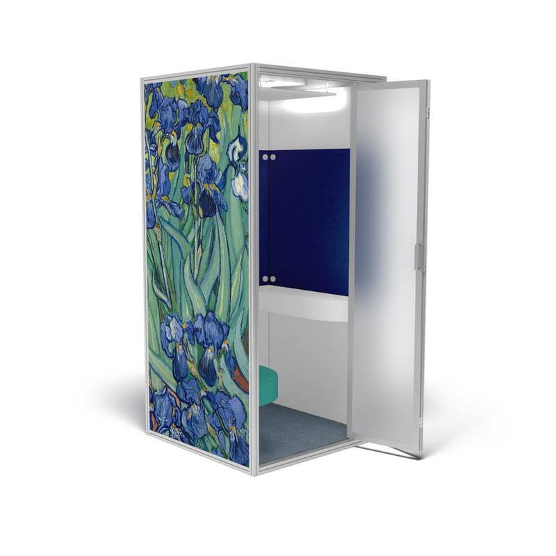 "Cubicall van Gogh Irises features Vincent van Gogh's famous painting, Irises, printed on the outside wall, with matching blue acoustic panels, soft marine teal vinyl leather, and blue steel carpet.  Irises digital image courtesy of the Getty's Open Content Program. The Cubicall One comfortably fits two persons inside. With a footprint less than 42"" x 42"" and standing under 8 feet high, the bi-folding door helps Cubicall fit in smaller offices where every inch of space is critical."