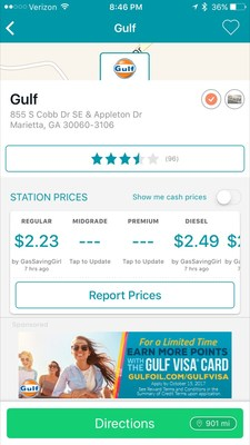 Verified Gulf station with Gulf Visa list advertisement.